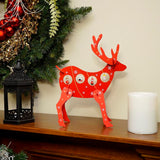 "13"" Decorative Red Wooden Reindeer Cut-Out Christmas Decoration"