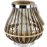 "9.25"" Rustic Chic Pear Shaped Rattan Candle Holder Lantern with Jute Handle"