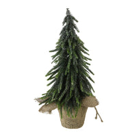 "14"" Silver Glitter Weeping Mini Pine Christmas Tree in Burlap Covered Vase"
