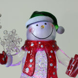 "11"" Swirling Glitter LED Lighted Snowman with Gifts Christmas Decoration"