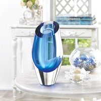 Blue Cut Glass Vase