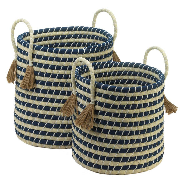 Navy Braided Baskets with Tassels