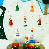 "10.25"" Wooden ""Merry Christmas"" Snowman Cut-Out with Miniature Ornaments"
