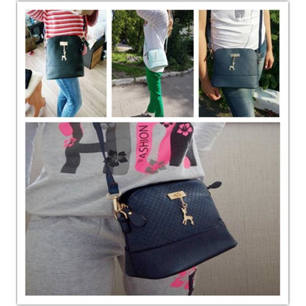 47fa2e6ad2 Everyday Ladies Criss-Cross Faux Leather Messenger Bag With Deer Pendant