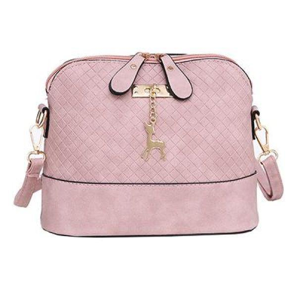 6944b89dba Everyday Ladies Criss-Cross Faux Leather Messenger Bag With Deer Pendant  Suave Pink