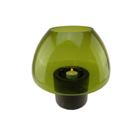 "9.75"" Transparent Olive Green Glass Candle Holder with Wooden Base"