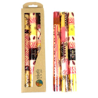 Tall Hand Painted Candles - Three in Box - Halisi Design - Nobunto