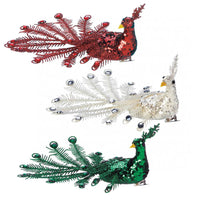 Festive Peacock Christmas Ornament Set