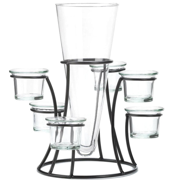 Glass Vase with Six or Eight Glass Candle Holders - JT Home & Away