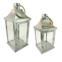 "Set of 2 Industrial Flecked Metal and Glass Paneled Nesting Pillar Candle Lanterns 14""-22"