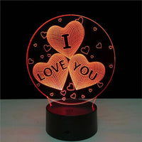 I Love You 3D Illusion Light, Remote Control Optional - JT Home & Away