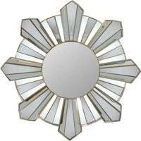 "25"" Sparkling Sunburst Wave Matte Gold Decorative Round Wall Mirror"