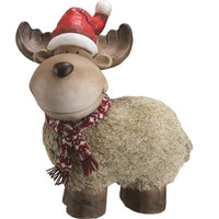 "17.25"" Whimsical Reindeer with Santa Hat Christmas Decoration"