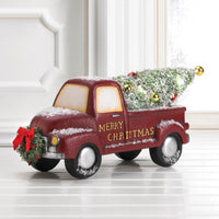 Light-Up Red Wreath Truck