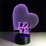 LOVE+Heart 3D Illusion Light, Remote Control Optional - JT Home & Away