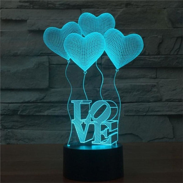 LOVE+Hearts 3D Illusion Light, Remote Control Optional - JT Home & Away