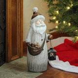 "19.75"" Weathered Santa with Tea Light Candle Lantern"