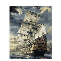 Man-O-War Ship: You're The Artist! Painting By Numbers Kit With Acrylic Paint Brushes And Quality Canvas