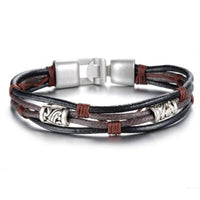 Multi-Layer Genuine Leather Bracelet Silver