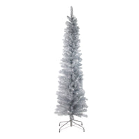 "6' x 20"" Silver Tinsel Artificial Pencil Christmas Tree - Unlit"