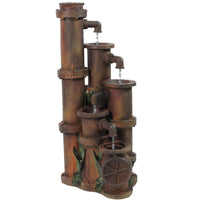 "23.5"" Rusted Cascading Pipes Outdoor Patio Garden Water Fountain"