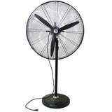 "30"" Jet Black Adjustable Height 3-Speed Oscillating Industrial Pedestal Fan"