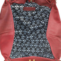 Oversize Burgundy Tote Bag with Gold Geometric Detail by Breezy Couture - JT Home & Away