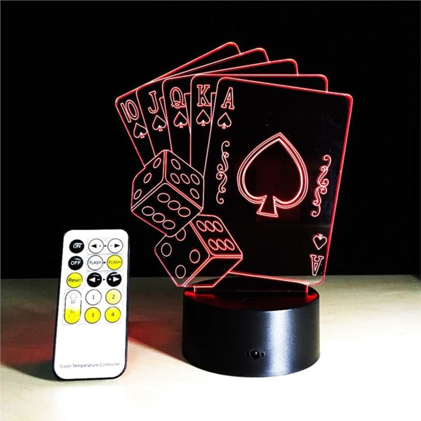 Poker Hand 3D Illusion Light, Remote Control Optional - JT Home & Away