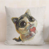 "Naughty Cat Decorative Throw Pillow Cover, 18"" Square"