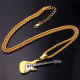 Guitar Necklace For Men and Women Music Lovers in Gold, Black, and Silver