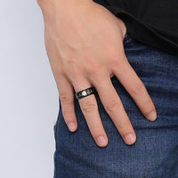 Men's Laser Engraved Stainless Steel Ring with Heartbeat and Medical Symbol