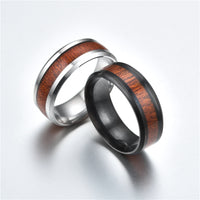 Titanium-Style Ring with Wood Inlay for Men and Women, Sizes 6-12