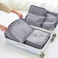 6 Piece Water Resistant Packing Cubes and Storage Pouches