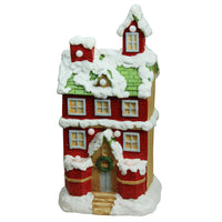 "21.25"" Pre-Lit LED Snow Covered 2 Story House Musical Christmas Decoration"