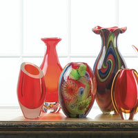 Red Art Glass Bottleneck Vase