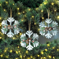 Rustic Snowflake Christmas Ornament Trio