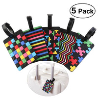 Set of 5 Soft PVC Luggage Bag Tags with Geometric Patterns - JT Home & Away