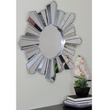 "25"" Sparkling Sunburst Wave Matte Silver Decorative Round Wall Mirror"