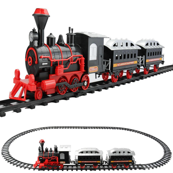 13-Piece Red and Black Battery Operated Lighted Classic Train Set