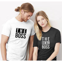 The Boss And Real Matching Black White T-Shirts
