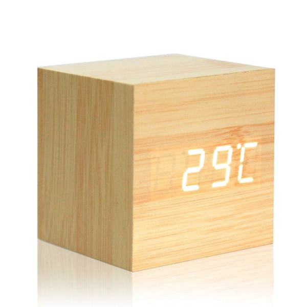 USB Powered Digital LED Wood-style Alarm Clock w/ Temperature - JT Home & Away