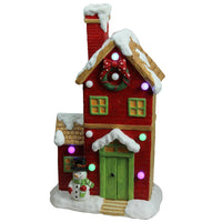"21"" Pre-Lit LED Snow Covered House Musical Christmas Decoration"