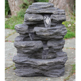 "24"" LED Lit Multi-Tiered Rock Style Outdoor Patio Garden Water Fountain"