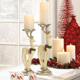 White Reindeer Candle Holder