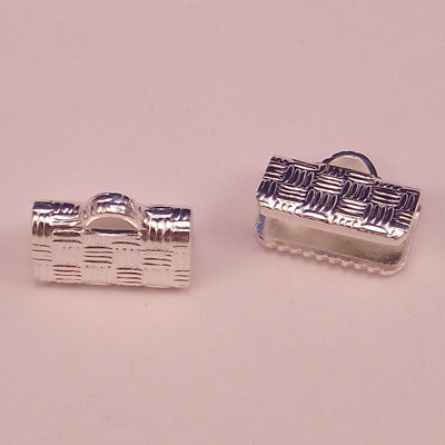 Ribbon Crimp End Silver Plated 10X6 mm - Sold Individually