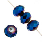 Ori Chinese Crystal - 6 x 8 mm - Donut -  Metallic Blue - Sold Individually