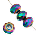 Ori Chinese Crystal - 6 x 8 mm - Donut -  Metallic Virtrail - Sold Individually