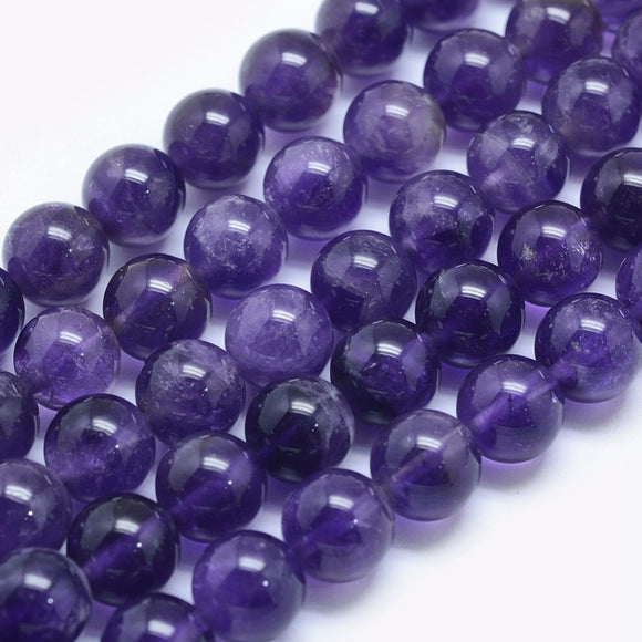 Natural Dark Amethyst 6 mm Round Beads - Per Strand Approx. 64 Beads