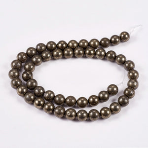 Pyrite - natural - 8 mm Round 15.5 Inch Strand