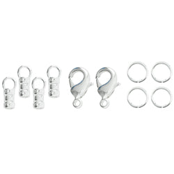 Loop Crimps, with Lobster Clasp and 2 x 6 mm (0.24 in) Jump Rings, 9.5 mm (0.37 in) long, fits cording up to 2.0 mm (0.78 in), Tarnish Resistant, Silver Plated E-Coat, 2 sets